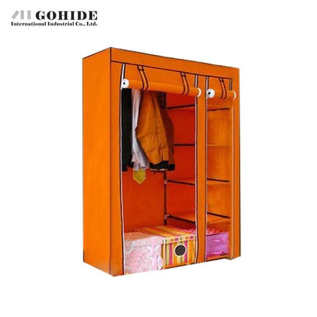 Gohide Non-Woven Folding Wardrobe Assembly Wardrobe Furniture Wardrobes With Simple Lockers To Storage Clothes Home Decoration