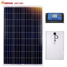 Dokio 100W Photovoltaic Solar Panel+10A 12V/24V Solar Controller 18V home Panel Solar 10 Watt+5V Dual USB Charger Regulator kit