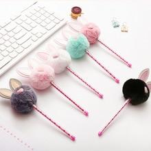 24pcs/lot Creative Neutral Pen Cute Plush Rabbit Ear 0.5 Black Signature Stationery Wholesale