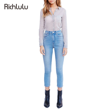RichLuLu Denim Women Sexy Slim Streetwear Jeans Solid Blue High Waist Cropped Pants Pockets and Zipper Casual Skinny Jeans