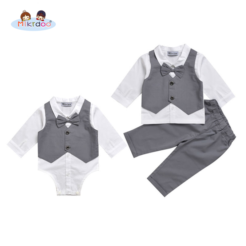 Mikrdoo kids baby boy clothes suit vest+bow shirt romper+pants fake 2 pieces formal gentleman wedding clothing set Age 0-2 Years baby set baby boy clothes 2 pieces