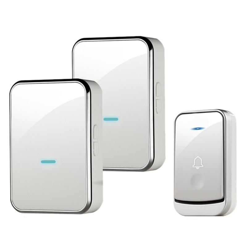 Waterproof Doorbell Intelligent Wireless Doorbell 200M Remote Smart Door Bell 45 Chimes 1 Emitter 2 Receiver(Eu Plug)