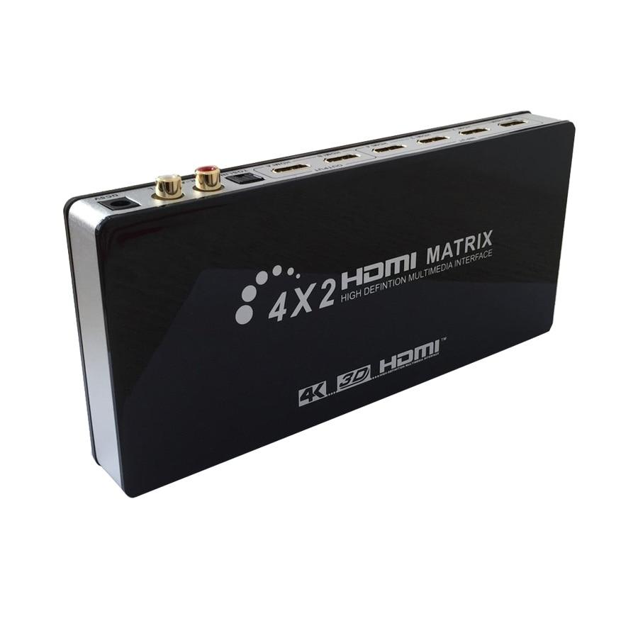 Полный HD 4kx2k произведенный матричный HDMI 4х2 Splitter переключателя матрицы HiFi с пультом дистанционного управления Поддержка HDMI с разрешением 1080p В1.4/с 3D/4K с Аудио