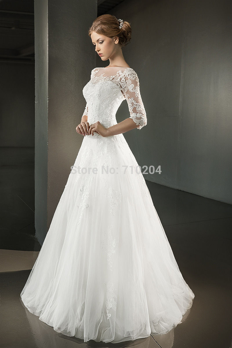 buy weding dress three quarter sleeve
