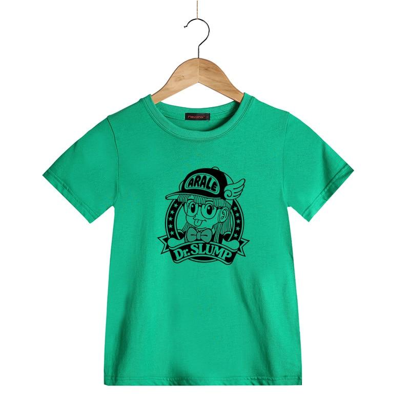 aeb02114a8 Girls T shirt Summer Children Clothes 100% Cotton Dr. Slump Arale Cartoon  Print Short