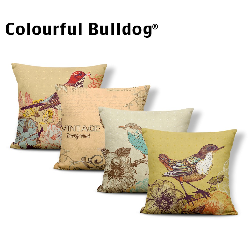 Animal Cushion Cover Bird Leaves Pillow Case Covers Flowers Anime Lounger Chair Nap Mat Pillow With Cover Owl Small Cotton Linen