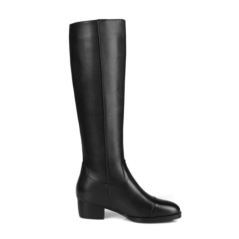 Populaire Carré Us Taille Chaussures Femmes Noir Ronde Femme Talons Haute 4 Arrivée Bout Genou 13 61811 Bottes Initiale Nouvelle L'intention Belle qCwv47aT