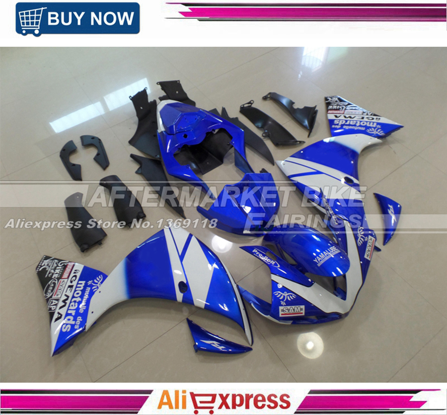 Motorcycle YZF R1 2009-2011 ABS Fairing Replacement For Yamaha YZFR1 09 2010 11 Fairings Blue & White