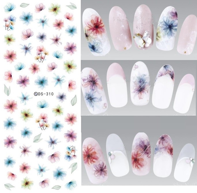 DIY Water Transfer Nails Art Sticker Harajuku Elements Colorful Fantacy blurred Flowers Nail Foils Sticker Manicura Decal 12 rolls mix color nail art sticker transfer foils decal dazzle colorful nails decoations set