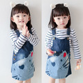 Child braces skirt 2017 spring children's clothing t-shirt denim skirt set