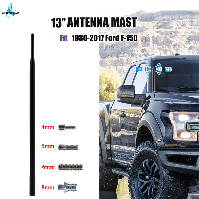 AM FM Antenna Mast Radio Amplifier Antennas For <font><b>Ford</b></font> <font><b>F150</b></font> 1980 - 2017 Car Roof Antenna Signal Booster Aerial 13 Inch Black / image