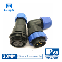 Waterproof Connector SP20 Type IP68 Cable Connector Plug & Socket Male And Female 2 3 4 5 6 7 9 10 12 14Pin SD20 Ninety Degrees