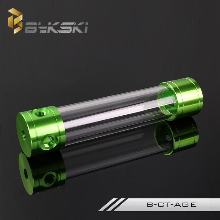 BYKSKI 260MM X 50MM Aluminum + Acrylic reservoir Cylindrical Empty Water-Coolant Tank 4 holes Cooler System B-CT-ABU Color Green radiator coolant reservoir overflow expansion tank for mercedes benz