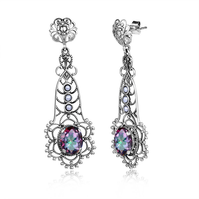 Fashion Women 925 Sterling Silver Pearl Earrings Vintage Hollowed Lab Sapphire Topaz CZ Stone Earring Long Evening Party Jewelry