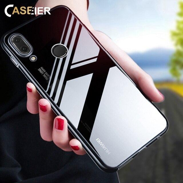 CASEIER Trường Hợp Đối Với Huawei P20 P10 P9 P8 Lite P10 Cộng Với Ultra Thin Trong Suốt Mềm TPU Trở Lại Trường Hợp Đối Với Huawei honor 9 Lite 4X 6X Capa