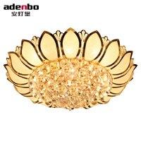 Цветок лотоса современный Потолочные светильники с Стекло абажур Gold потолочный светильник для Гостиная Спальня Освещение (adb959)