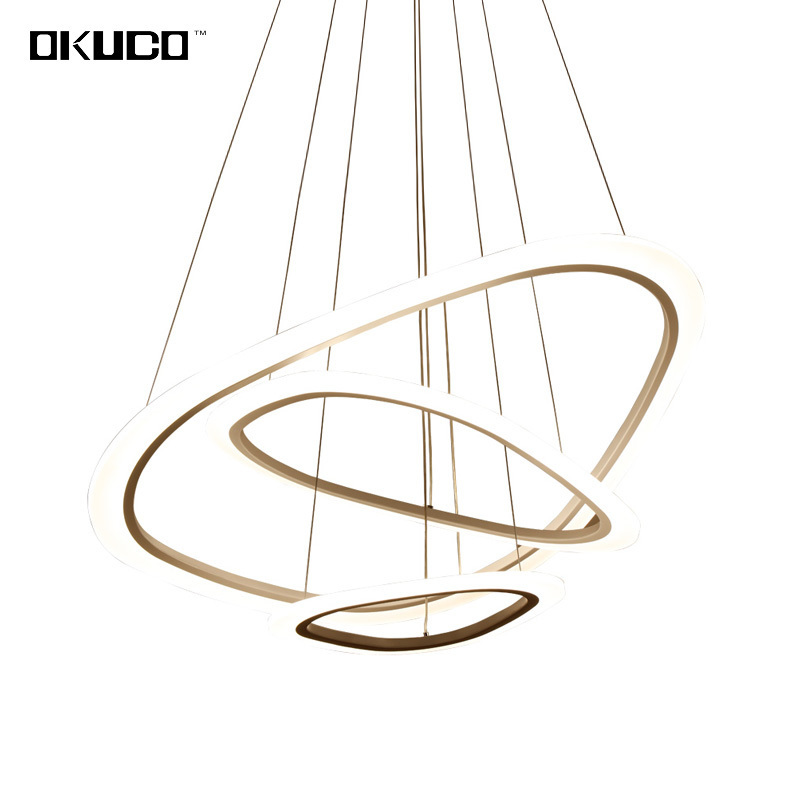 Modern Pendant Lights For Living Dining Room Decoration Fixtures Rings Lamp Shade Restaurant Suspension Hanging Lighting Dimmer southeast asia chinese style wooden veneer pendant lights living room restaurant lamp dining room lights