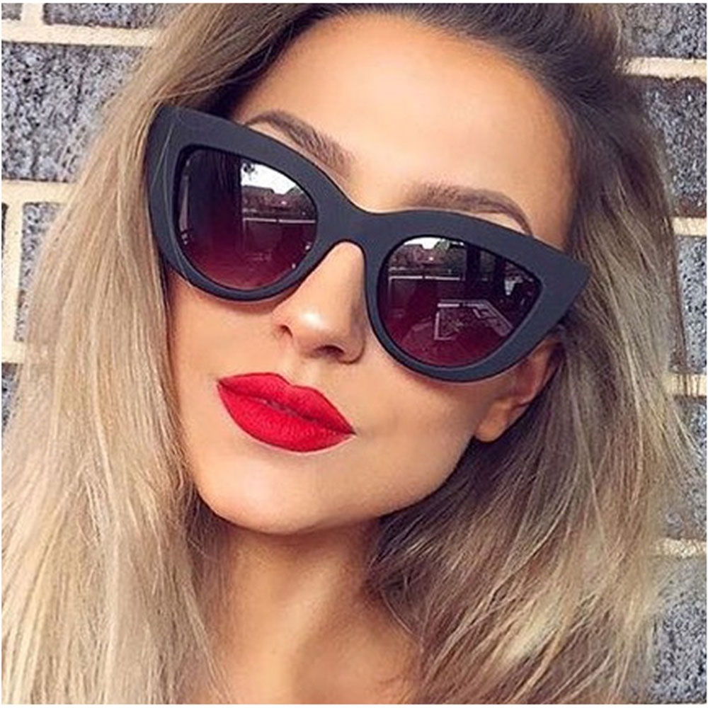 2018 New Women CatEye Sunglasses Matt black Brand Designer Cateye Sun glasses For Female  UV400-in Women's Sunglasses from Apparel Accessories on Aliexpress.com | Alibaba Group