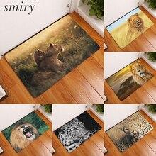 Smiry 40*60 cm animal impermeable decorativo bienvenido león salvaje carpet antideslizante esteras de la escalera de entrada salón estera de puerta