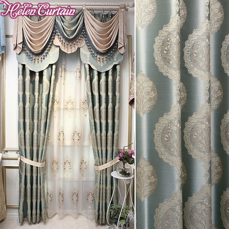 Helen curtain new arrive jacquard european rod style - European style curtains for living room ...