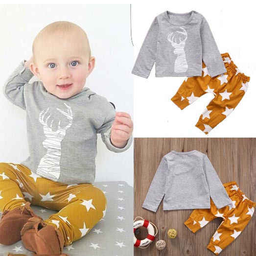 1cc94a148 Baby Boy Outfit Kids Clothes 2pcs Newborn 6 12 18 24 Months T-shirt Top