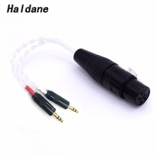 цена на Free Shipping Haldane 8cores Copper Silver plated  2x 3.5mm Male to 4-pin XLR Female Balanced Audio Adapter Cable for PHA-3 15cm