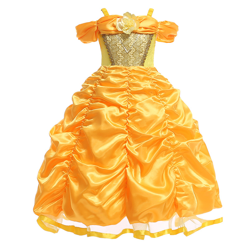 Kids Halloween Fancy Dress Up Parade Beauty and The Beast Cosplay Costume Party Princess Belle Christmas Gold Dress for Girls girls catwoman cosplay for kids christmas party performance halloween costume cute kids girls cat kitty princess dress with hair