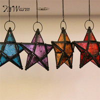 Classic Glass Candle Holders Moroccan Star Candlestick Metal Home Garden Lamps Large Hanging Tea Light Lanterns