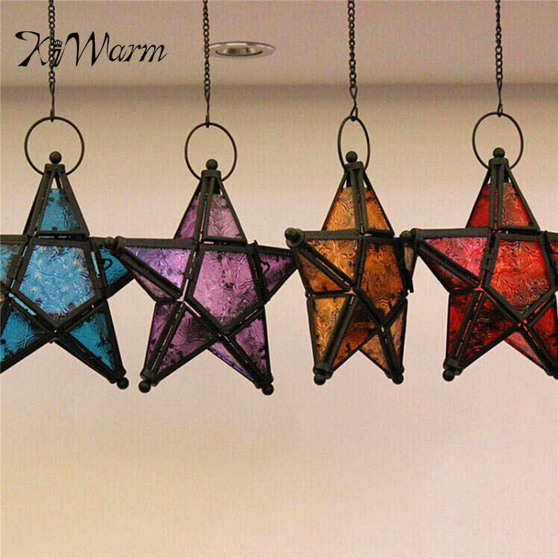 Classic Glass Candle Holders Moroccan Star Candlestick Metal Home Garden Lamps Large Hanging Tea Light Lanterns for Home Decor