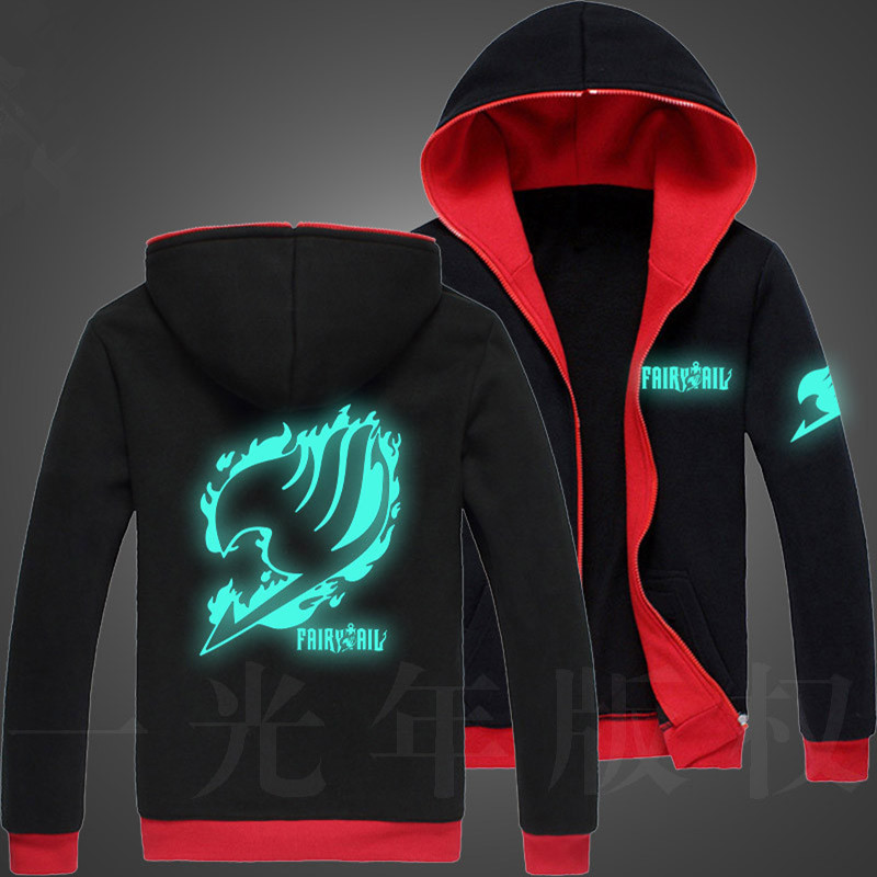 Autumn Lelaki Fairy Tail Glow Hoodie Hooded Zipper Streetwear Hip Hop Sweatshirt Harajuku Anime Hoodies Men Kolej Fesyen Hoodies
