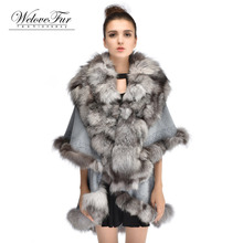 2016 Winter Fashion Fox Fur Shawl Warm Large Size Fur Poncho Women Elegant Fox Fur Coat Warps