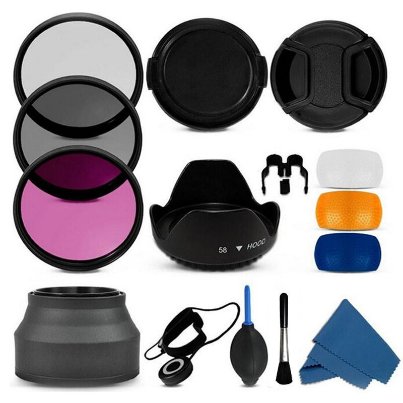 100% Professional 55mm uv cpl fld Filter Lens Hood & Cap Camera cleaning kit for nikon canon 7