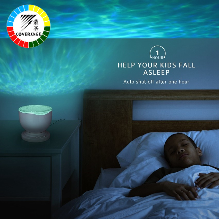 Coversage Ocean Wave Projector Music Player Speaker LED Night Light - Night Lights - Photo 3
