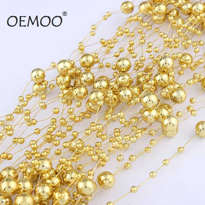 5 Meters  Line Artificial ABS Pearl Beads Chain For Garland Wedding Party Decor Hair Accessories Gold or Silver