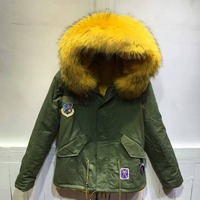 2018 Fashion Patches Warm Parka Jacket Yellow Faux Fur Lined Mr Mrs Both Side Casual Furs