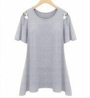 Big Size 4XL Fashion Off The Shoulder Tops For Women Blusa Summer Black Grey Ruffle T