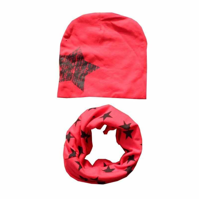 ฤดูใบไม้ร่วงฤดูหนาวหมวก + ผ้าพันคอเด็กวัยหัดเดินเด็กฤดูใบไม้ผลิเสื้อผ้าอุปกรณ์เสริมดาวพิมพ์ฝ้ายนุ่มหมวกผ้าพันคอชุด