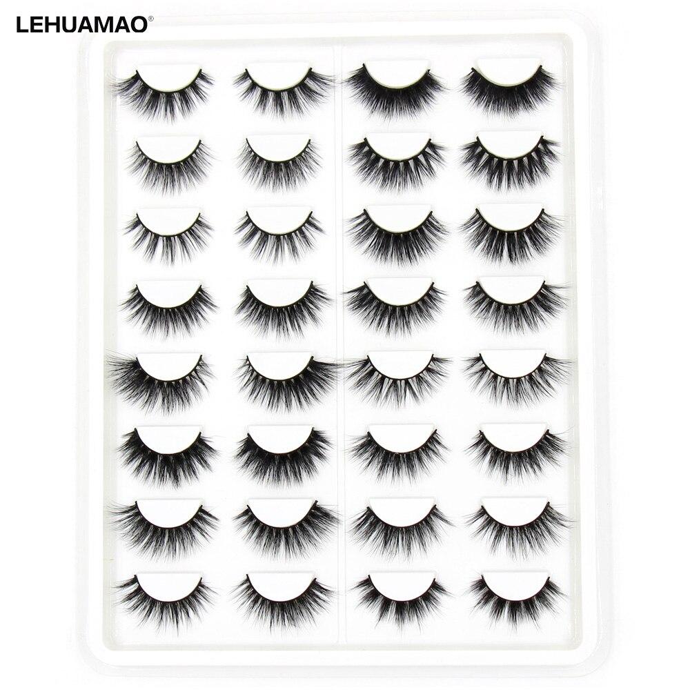 LEHUAMAO 16 Pairs False Eyelashes 3D Mink Eyelashes Handmade Eye Lashes Real Mink Makeup Thick Fake False Eyelashes With Fluffy