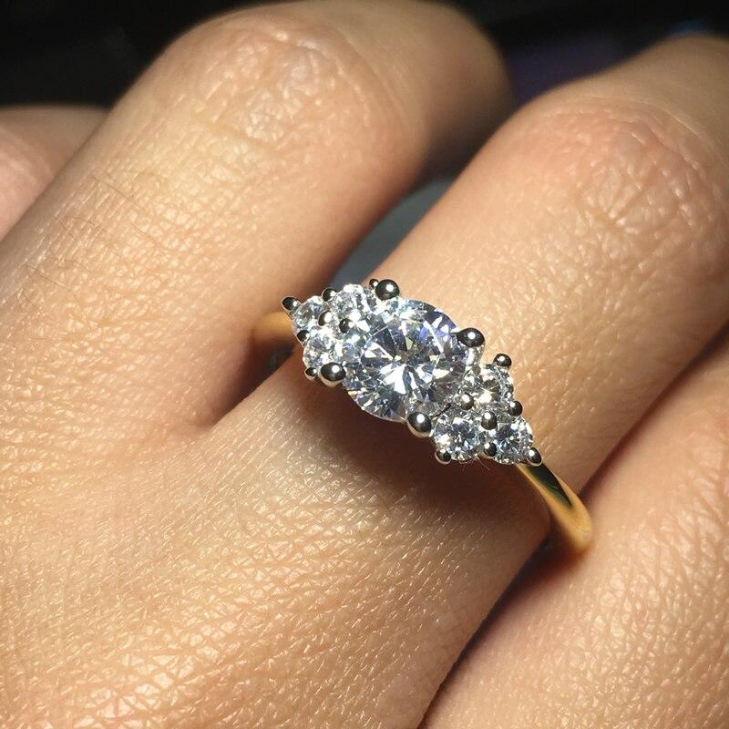 Image 3 - AINOUSHI кольцо из стерлингового серебра 925 пробы желтого золота с тремя камнями и круглой огранкой, обручальное кольцо для женщин, обручальное кольцо для влюбленных, ювелирные украшения-in Обручальные кольца from Украшения и аксессуары