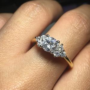 Image 3 - Женское Обручальное Кольцо ANZIW, кольцо из стерлингового серебра 925 пробы желтого золота с тремя камнями и круглой огранкой, ювелирные украшения для влюбленных