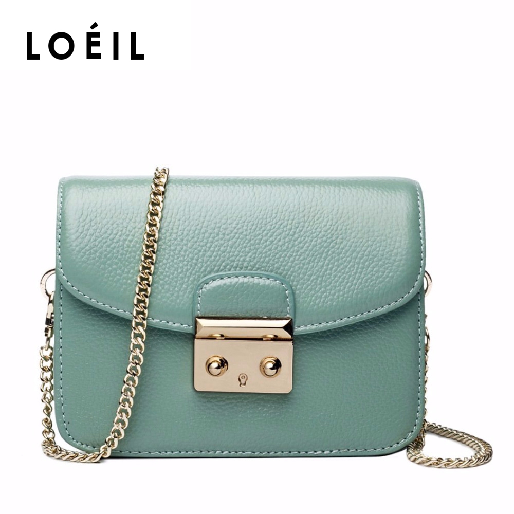 LOEIL New fashion female bag top layer leather portable slung shoulder mini bag chain lock small square bag bag female 2018 new fashion sequins convenient bread bag chain small square bag shoulder slung dinner bag