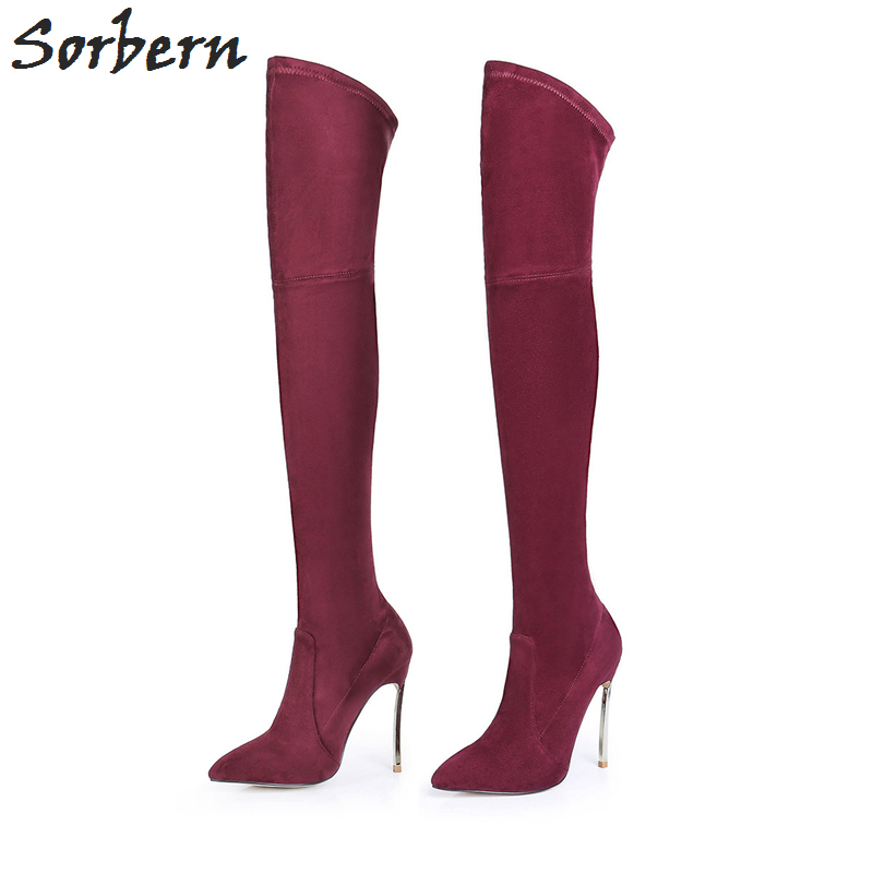 Sorbern Sexy Women Boots Stretch Slim Thigh High Boots Over the Knee Boots 12CM High Heel Shoes Woman Thin Heels 34-43 jialuowei women sexy fashion shoes lace up knee high thin high heel platform thigh high boots pointed stiletto zip leather boots