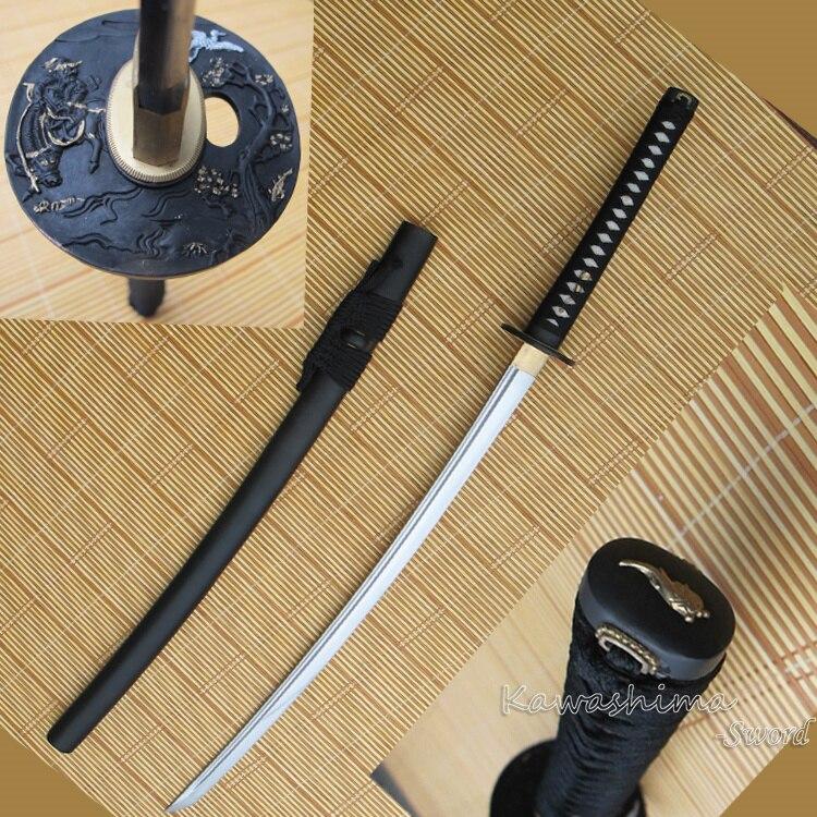 1060 haute teneur en carbone acier fait à la main japonais Katana véritable épée pleine Tang Sharp prêt pour l'entraînement en alliage de Zinc garde gaine noire