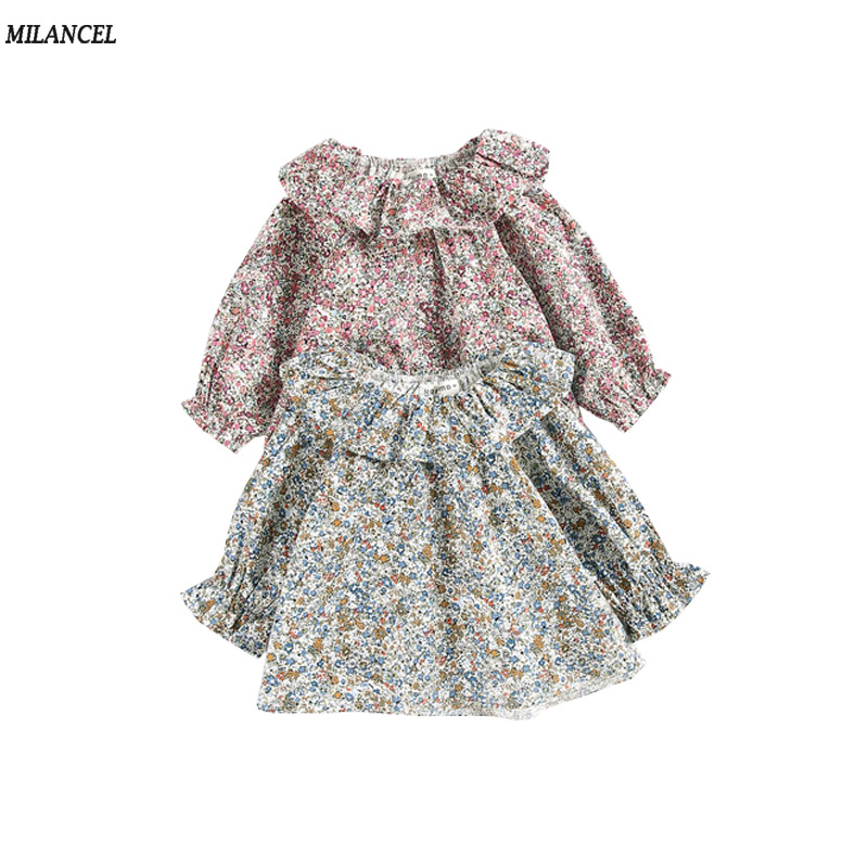 Milancel Autumn Baby Clothing Toddler Baby Girls Floral Shirt Long Sleeve Girls Ruffle Tops Cute Girls Clothes Blouse for Girl trendy v neck long sleeve floral print see through blouse for women
