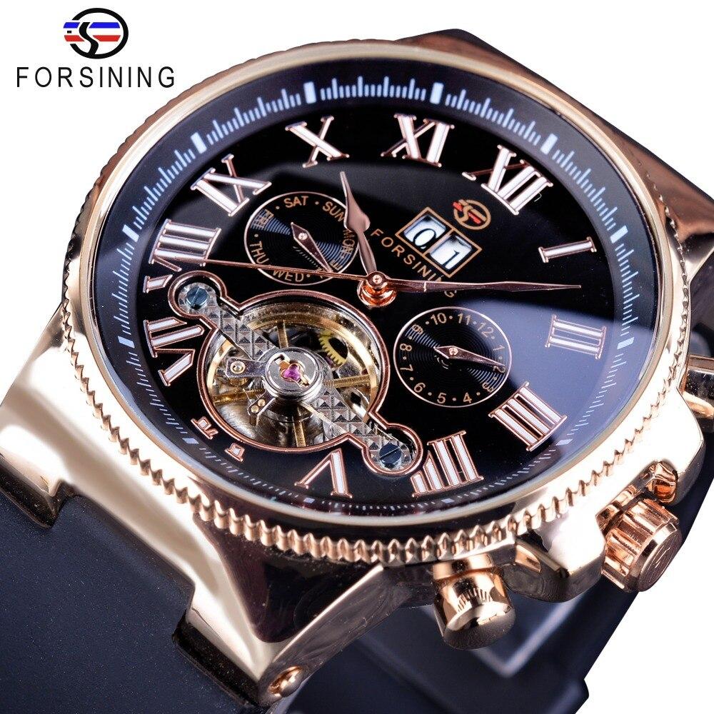 Forsining Creative Watch Roman Number Men Calendar Roman Tourbillion Men Watch Top Brand Luxury Automatic Skeleton Wristwatch