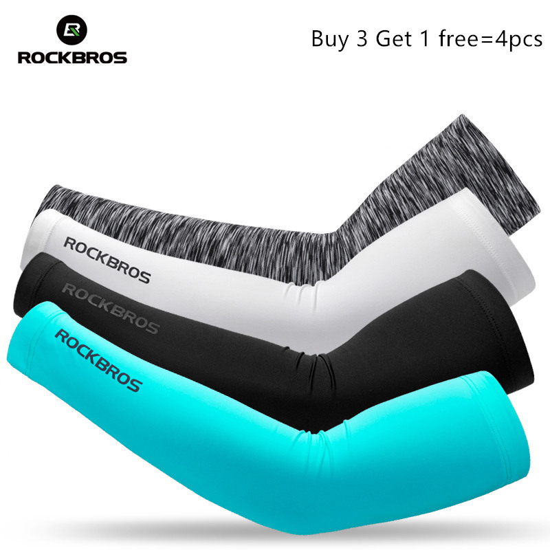 ROCKBROS Sport Arm Warmers Sun Protection Hiking Basketball Volleyball Sleeve Ice Fabric Men Women Soft Protective Sleeve Arm
