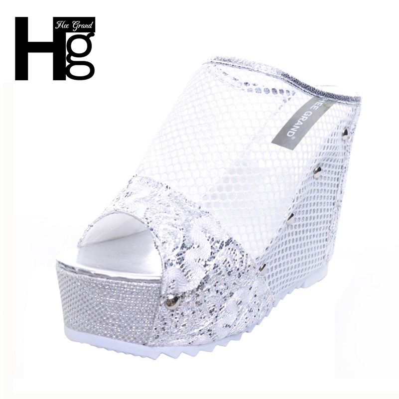 HEE GRAND Mesh Wedges High Heels 2017 Summer Platform Sexy Mesh Shoes Woman Slip On Gold Silver Slippers XWZ4015 hee grand gold silver high heels 2017 summer gladiator sandals sexy platform shoes woman casual shoes size 35 43 xwz4075