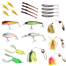 цена на 22pcs double box soft bait road bait set fish hook fishing gear gear hook shrimp armor earthworm small grey fish minobo pick