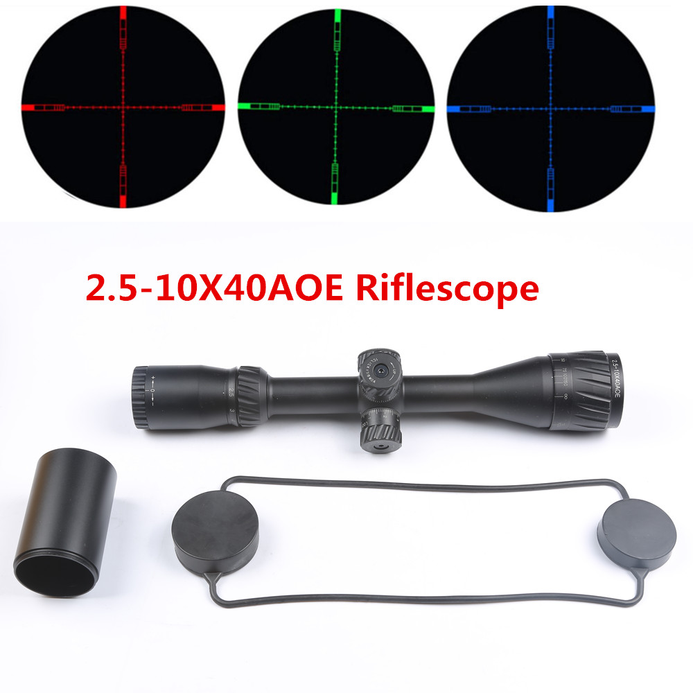 цена на Rifle Scope 2.5-10X40 AOE Red Green Blue Dot Illuminated Cross Reticle Optical Sight For Hunting Airsoft Rifle Scope Airgun caza