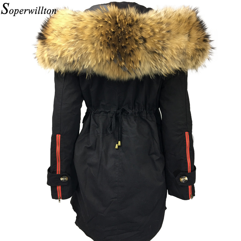 koop grote fur hooded parka vrouwen 2017 nieuwe winter jassen bont trim jas luxe. Black Bedroom Furniture Sets. Home Design Ideas
